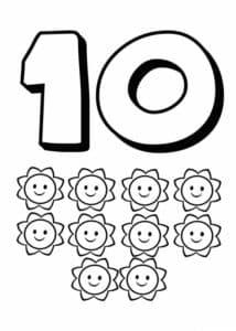цифра 10 раскраска детская с звездочками