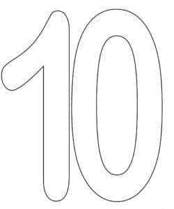 цифра десять раскраска