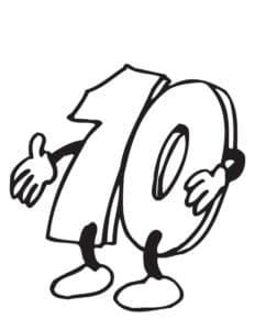 цифра 10 с руками и ногами раскраска