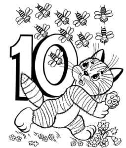 цифра 10 пчел раскраска
