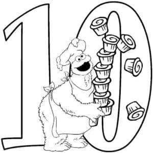 цифра 10 с кексами раскраска