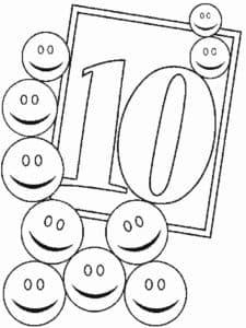 раскраска цифра 10 с смайликами