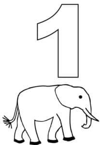 раскраска цифра 1 и слон