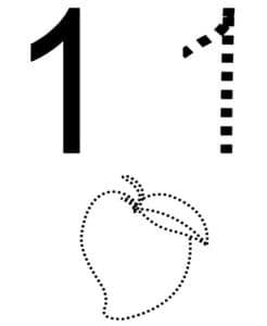 цифра 1 и яблоко