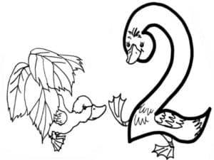 цифра два в форме лебедя