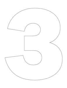 цифра три трафарет раскраска
