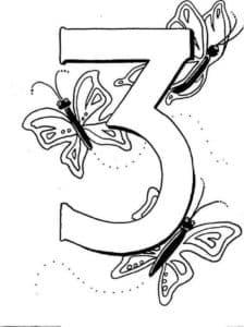 раскраска цифра три с бабочками