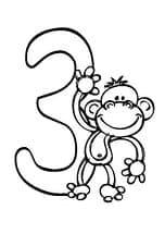 раскраска три с обезьянкой