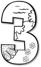 цифра три с цветочками раскраска