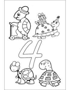 раскраска 4 черепахи