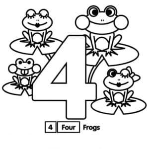 раскраска 4 лягушки
