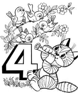 раскраска цифра 4 с котиком