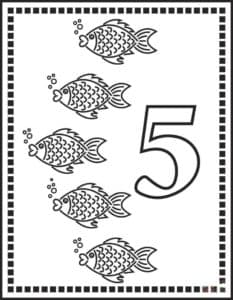 пять рыбок раскраска