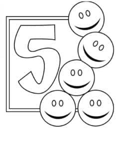 пять смайликов раскраска