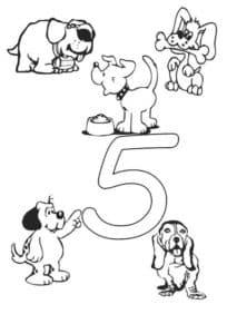 цифра пять с собачками раскраска
