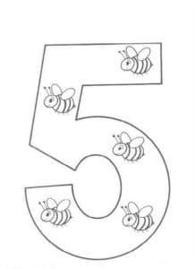 пять пчелок раскраска