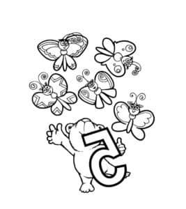 5 бабочек раскраска