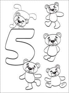 раскраска цифра пять и медвежата