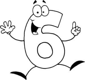 раскраска цифра шесть