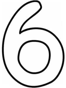 цифра 6 трафарет раскраска
