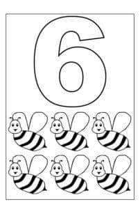 цифра 6 раскраска с пчелами