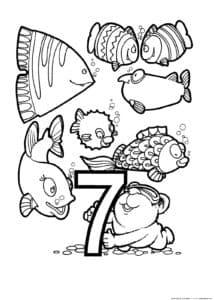 цифра 7 с рыбками