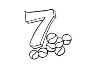 раскраска цифра 7 и орешки