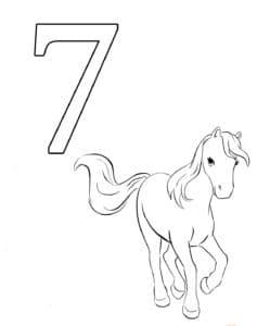 раскраска 7 и лошадка