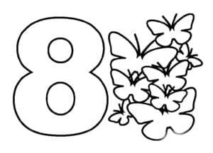 трафарет цифры 8 с бабочками