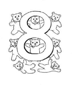 раскраска цифра 8 с медвежатами