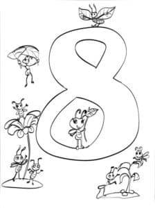 цифра 8 с насекомыми