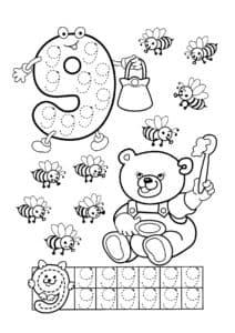 трафарет цифра 9 и медвежонок