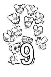 цифра 9 медведь и пчелы