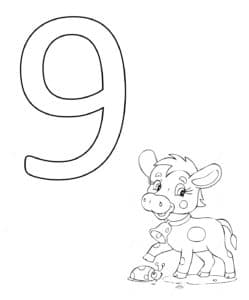 трафарет девять с теленком