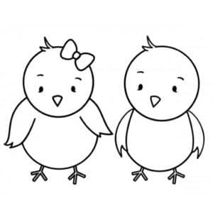 два цыпленка с бабочкой
