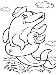 дельфин в спасательном круге