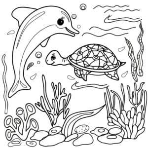 дельфин и черепаха