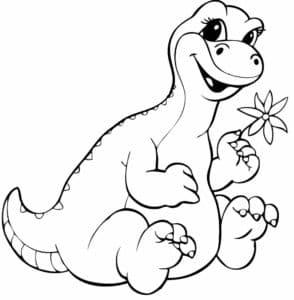 маленький динозавр с цветочком