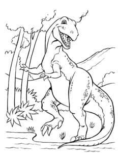 динозавр и большое дерево
