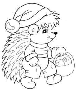 ежик в новогодней шапке