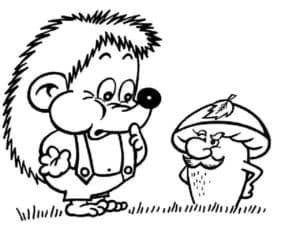 ежик и живой гриб