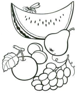 раскраска для детей фрукты