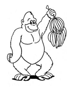 горилла с связкой бананов