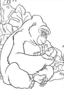 горилла с младенцем раскраска