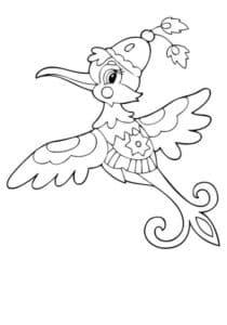 раскраска мультяшная колибри