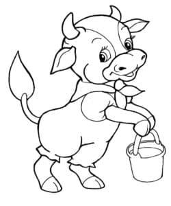 теленок с ведром