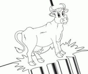 корова на соломе
