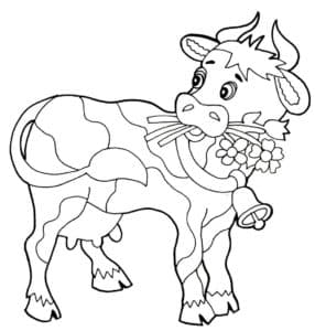 корова с цветами