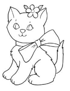 кошка с бантиком и цветочком