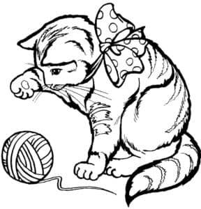 большой кот и клубок